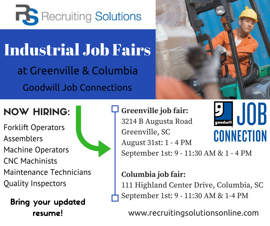 Goodwill Greenville Sc >> Industrial Job Fairs Greenville Columbia Recruiting Solutions