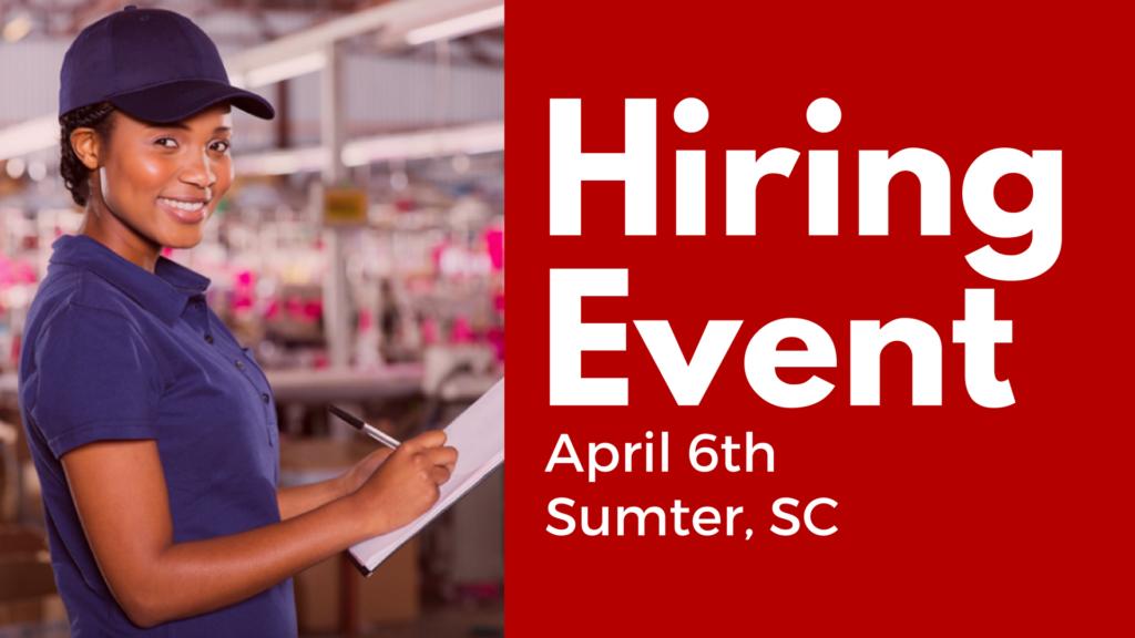 sumter hiring event - april 6th  2017